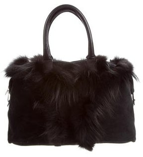 Saint Laurent Fur-Trimmed Easy Bag - BLACK - STYLE