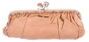 Miu Miu Crystal-Embellished Leather Clutch