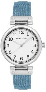 Anne Klein Silvertone Light Denim Strap Watch