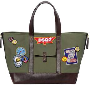 DSQUARED2 Patches Cotton Canvas Tote Bag