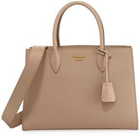Prada Large Bicolor Saffiano Side-Pleat Tote Bag
