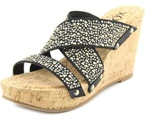 XOXO Belicia Women Open Toe Canvas Black Wedge Sandal.