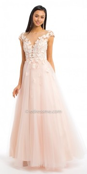 Camille La Vie Illusion Back Cap Sleeve Butterfly Ball Gown