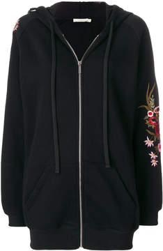 Amen embroidered floral zipped sweater
