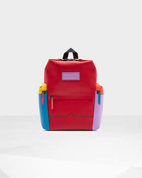 Hunter Color Block Top Clip Rubberized Leather Backpack