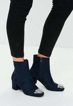 Missguided Navy Embellished Toe Ankle Boots