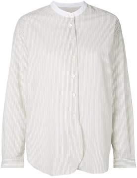Closed striped mandarin collar shirt