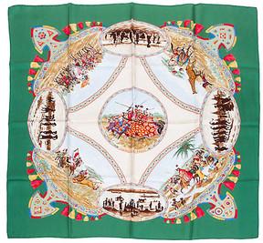 One Kings Lane Vintage HermAs Green Cavaliers Peuls Silk Scarf - Vintage Lux