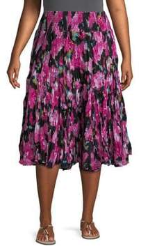 Context Plus Abstract-Print Cotton Skirt