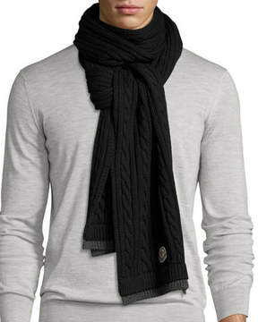 Moncler Men's Bicolor Wool Cable-Knit Scarf