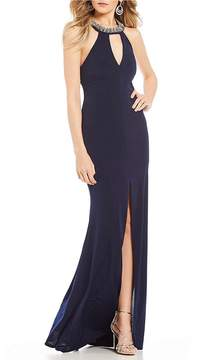 B. Darlin Beaded-Neck Long Dress