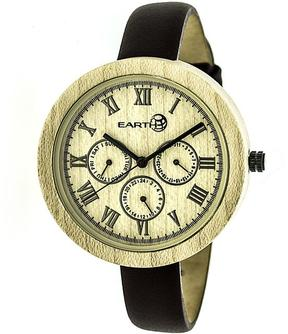 Earth Brush Collection ETHEW3801 Women's Wood Watch with Leather Strap