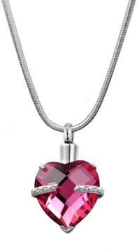 Keepsake Anavia ANAVIA Crystal Birthstone Heart Cremation Memorial Urn Ash Holder Necklace Jewelry (October - Tourmaline)