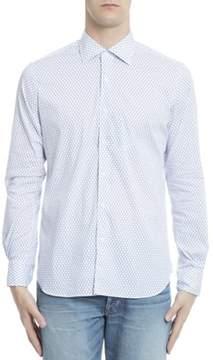 Orian Men's Light Blue/white Cotton Shirt.
