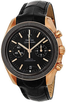 Omega Speedmaster Moonwatch Black Dial Chronograph 18kt Rose Gold Black Alligator Leather Men's Watch