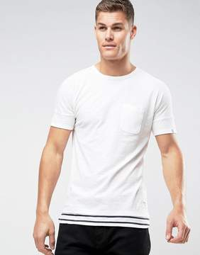 Tom Tailor Longline T-Shirt With Stripe Layer Hem