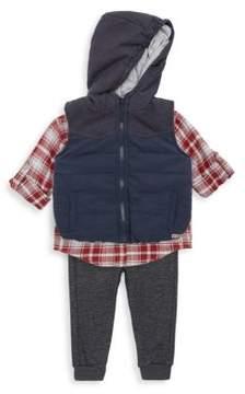 Hudson Baby's Three-Piece Puffer Vest, Collared Shirt & Jogger Pants Set