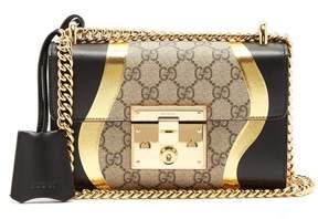 Gucci Padlock Gg Supreme Leather Shoulder Bag - Womens - Black Gold