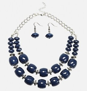 Avenue Oversize Faceted Bead Necklace Earring Set
