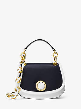 Michael Kors Goldie Small French Calf Leather Shoulder Bag - BLUE - STYLE