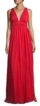 Aidan Mattox Double V Shirred Silk Gown