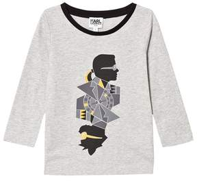 Karl Lagerfeld Grey and Bad Cat Print Branded Long Sleeve T-Shirt