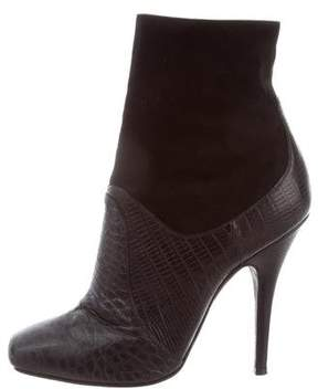 Donna Karan Embossed Leather Suede-Trimmed Ankle Boots