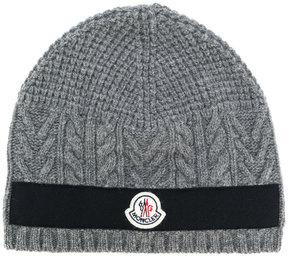 Moncler cable knit logo beanie
