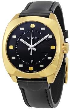 Gucci GG2570 Black Dial Black Leather Men's Watch