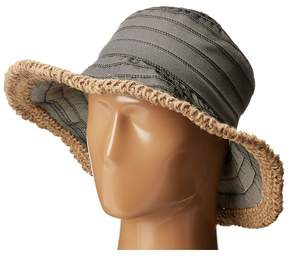 San Diego Hat Company RBM5563 Bucket Ribbon Hat with Crochet Hemp Edging Traditional Hats