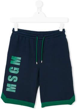 MSGM logo printed shorts