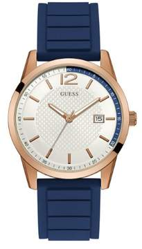 GUESS Men's Rose Gold-Tone and Blue Silicone Watch