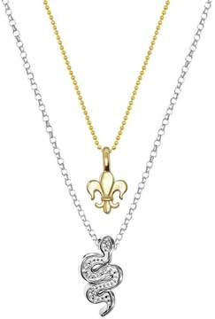 Alex Woo 14K Yellow Gold & Sterling Silver Fleur de Lis & Diamond Snake Pendant Necklace - Set of 2 - 0.04 ctw