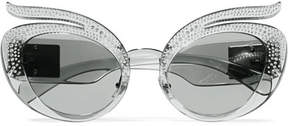Miu Miu Cat-eye Crystal-embellished Acetate Sunglasses - Gray