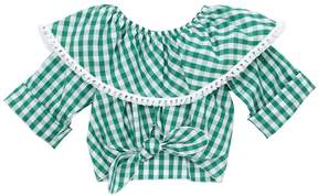 La Stupenderia Gingham Print Cotton Cropped Top