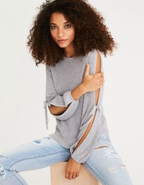 American Eagle Outfitters AE Open Tie-Sleeve Sweater