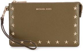 MICHAEL Michael Kors Star-Studded Medium Gusset Wristlet - OLIVE - STYLE