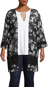 Boutique + + 3/4 Sleeve Floral Kimono - Plus
