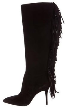 Brian Atwood Suede Fringe Knee-High Boots