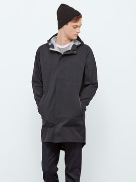 Frank and Oak State Concepts Triple Torrent Fishtail Raincoat in True Black