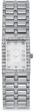 Croton Ladies Rectangular Silvertone Quartz Watch with Mother of Pearl Dial & Diamond Markers