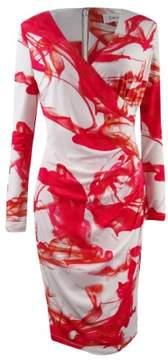 Calvin Klein Women's Printed Jersey Faux-Wrap Dress (8, Watermelon Multi)
