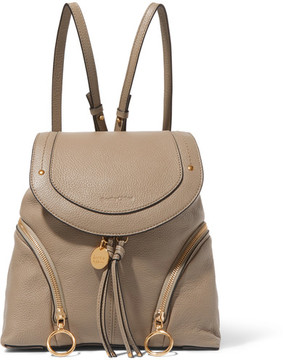 See by Chloé - Olga Medium Textured-leather Backpack - Light gray