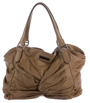 Burberry Ruched Leather Tote - BROWN - STYLE