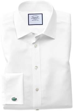 Charles Tyrwhitt Slim Fit Non-Iron Royal Panama White Cotton Dress Shirt Single Cuff Size 14.5/32