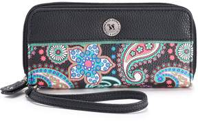 Co Stone & Paisley Pebbled Leather Double Zip Around Wallet