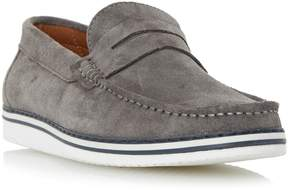 Dune London BRIGHTLING - GREY Wedge Sole Suede Penny Loafer