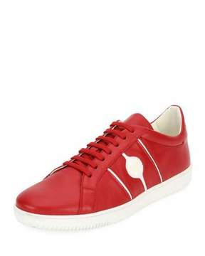 Versace Men's Medusa Leather Low-Top Sneakers, Red