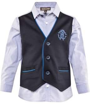 Roberto Cavalli Pale Blue Cotton Poplin Shirt With Faux Waistcoat