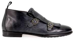 Santoni Men's Grey/black Leather Monk Strap Shoes.